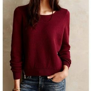 Moth Anthro Merle Maroon Pullover Sweater Size S